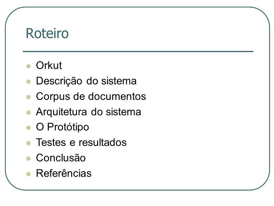 Roteiro Orkut Descrição do sistema Corpus de documentos