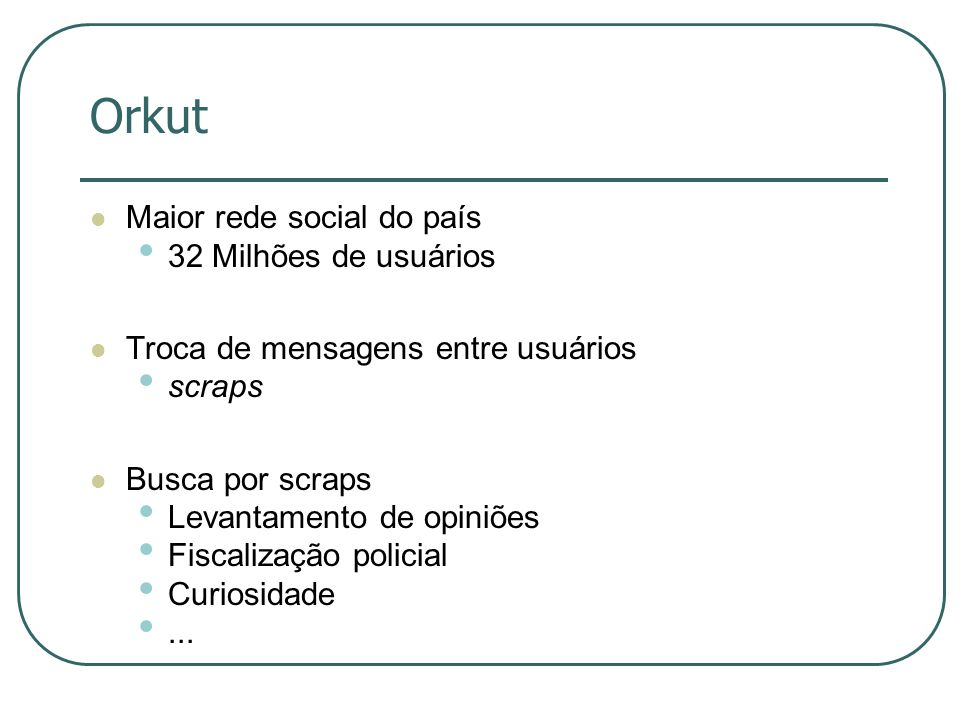 Orkut Maior rede social do país 32 Milhões de usuários