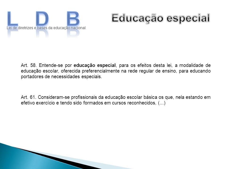 LDB Educação especial. Lei de diretrizes e bases da educação nacional.
