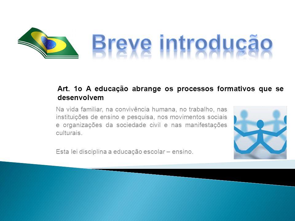 Breve introdução Art. 1o A educação abrange os processos formativos que se desenvolvem.