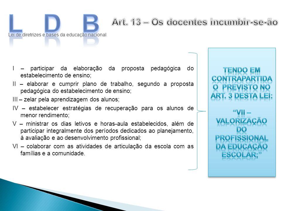 LDB Art. 13 – Os docentes incumbir-se-ão