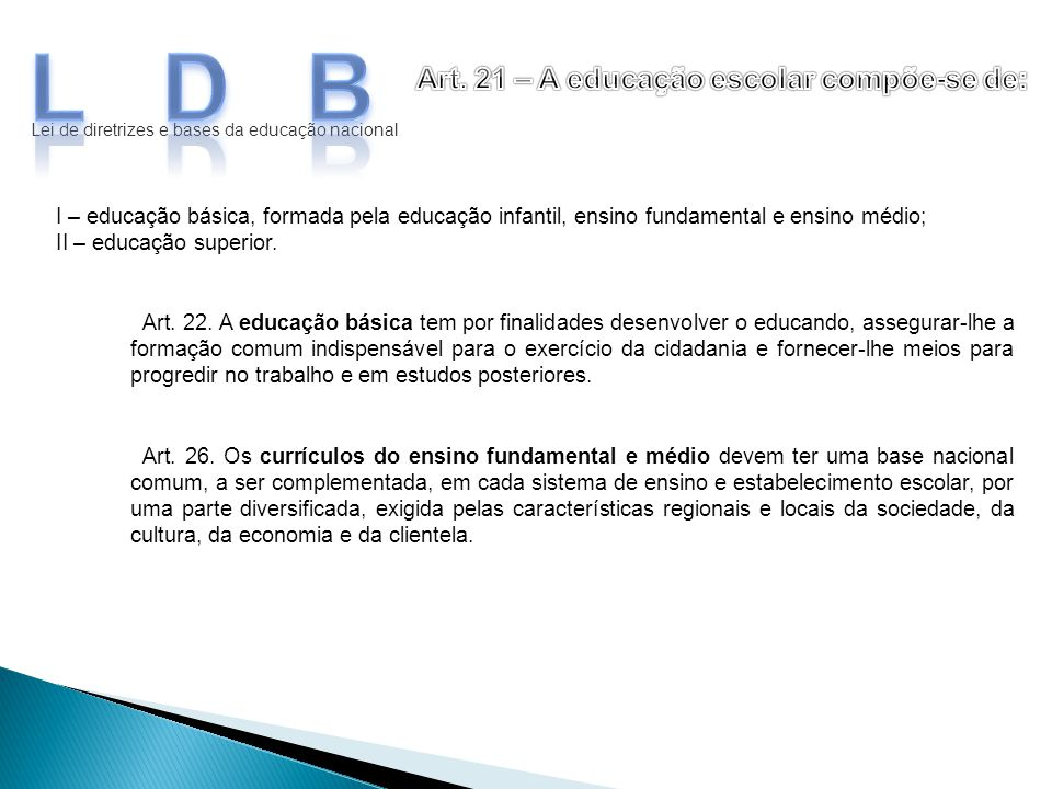 LDB Art. 21 – A educação escolar compõe-se de:
