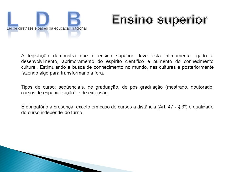 LDB Ensino superior. Lei de diretrizes e bases da educação nacional.