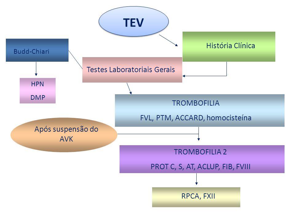 TEV História Clínica Testes Laboratoriais Gerais TROMBOFILIA