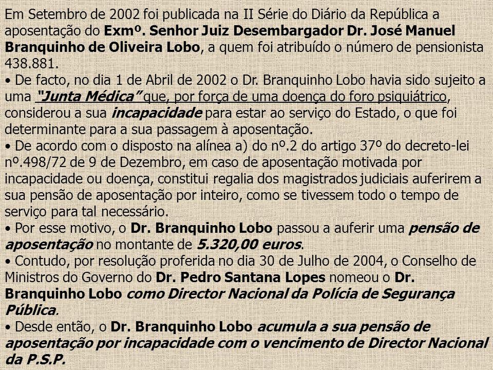 Em Setembro de 2002 foi publicada na II Série do Diário da República a aposentação do Exmº. Senhor Juiz Desembargador Dr. José Manuel Branquinho de Oliveira Lobo, a quem foi atribuído o número de pensionista 438.881.