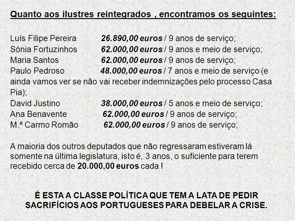 Quanto aos ilustres reintegrados , encontramos os seguintes: Luís Filipe Pereira 26.890,00 euros / 9 anos de serviço; Sónia Fortuzinhos 62.000,00 euros / 9 anos e meio de serviço; Maria Santos 62.000,00 euros / 9 anos de serviço; Paulo Pedroso 48.000,00 euros / 7 anos e meio de serviço (e ainda vamos ver se não vai receber indemnizações pelo processo Casa Pia); David Justino 38.000,00 euros / 5 anos e meio de serviço; Ana Benavente 62.000,00 euros / 9 anos de serviço; M.ª Carmo Romão 62.000,00 euros / 9 anos de serviço;