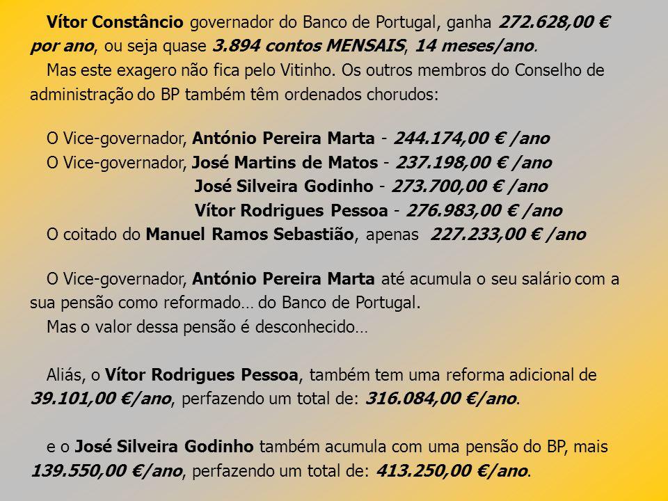 Vítor Constâncio governador do Banco de Portugal, ganha 272