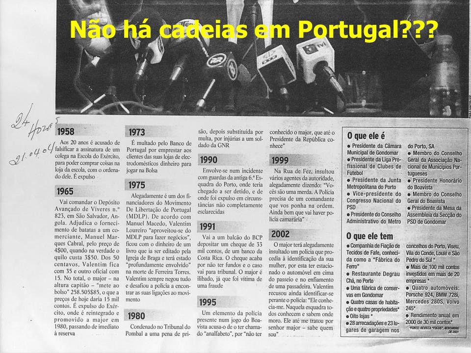 Não há cadeias em Portugal