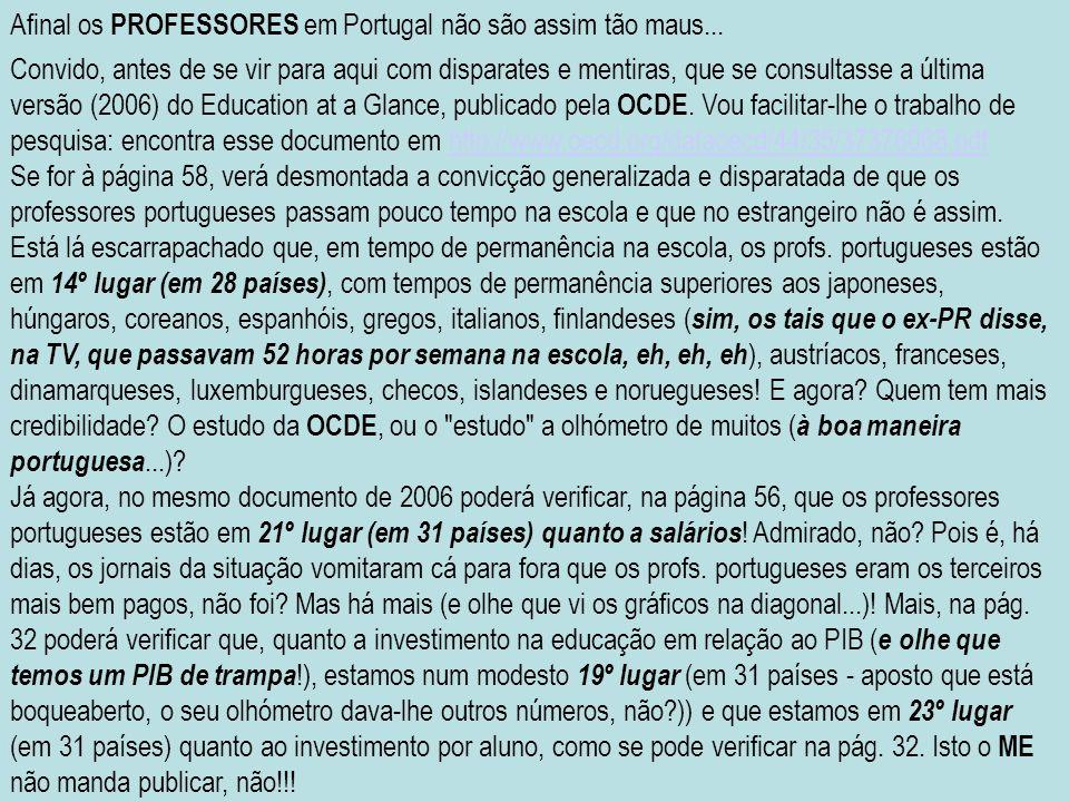 Afinal os PROFESSORES em Portugal não são assim tão maus...