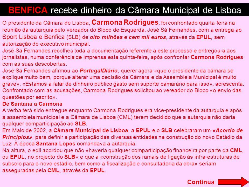 BENFICA recebe dinheiro da Câmara Municipal de Lisboa
