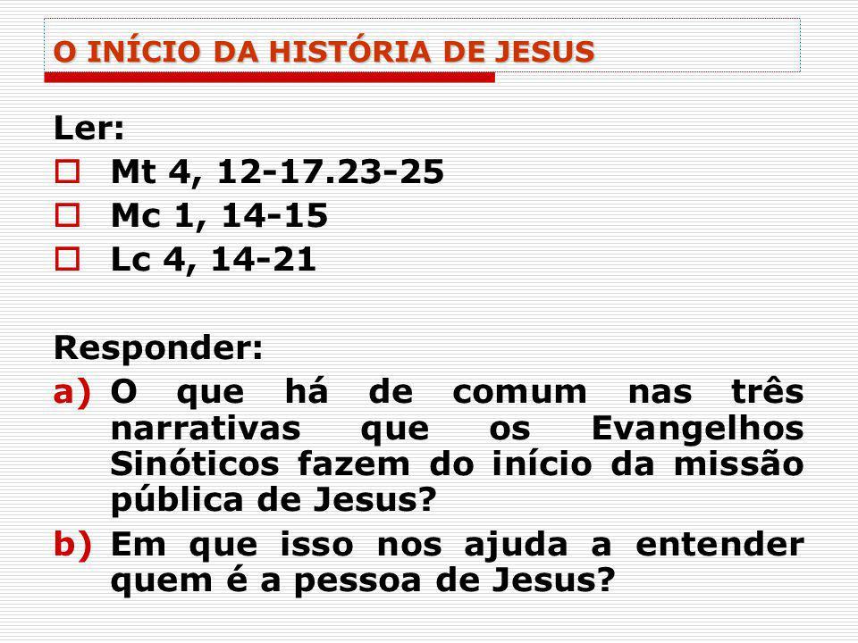 O INÍCIO DA HISTÓRIA DE JESUS