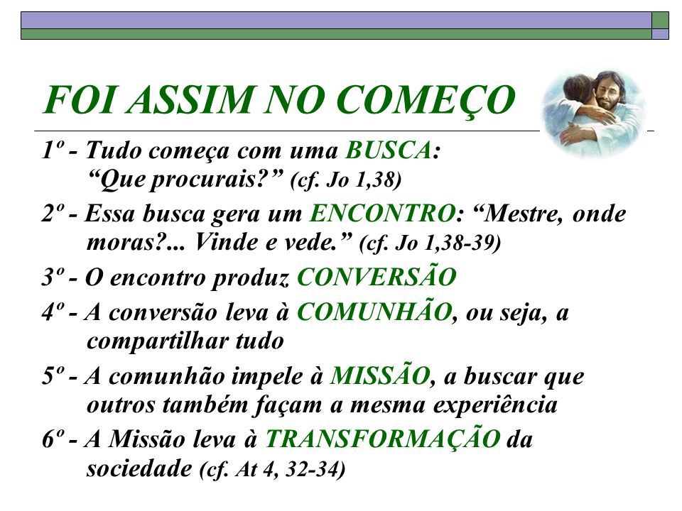 FOI ASSIM NO COMEÇO 1º - Tudo começa com uma BUSCA: Que procurais (cf. Jo 1,38)