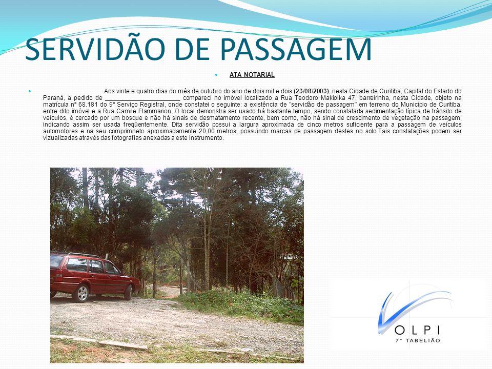 SERVIDÃO DE PASSAGEM ATA NOTARIAL