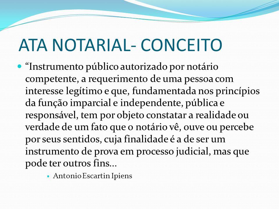 ATA NOTARIAL- CONCEITO