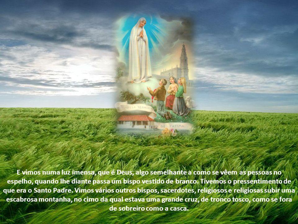 E vimos numa luz imensa, que é Deus, algo semelhante a como se vêem as pessoas no espelho, quando lhe diante passa um bispo vestido de branco.