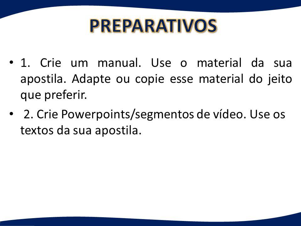 PREPARATIVOS 1. Crie um manual. Use o material da sua apostila. Adapte ou copie esse material do jeito que preferir.