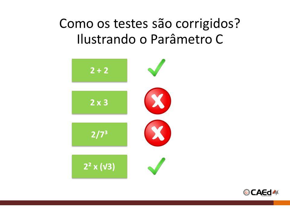 Como os testes são corrigidos Ilustrando o Parâmetro C