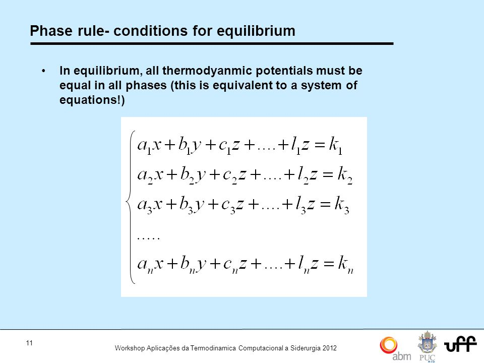 Phase rule- conditions for equilibrium