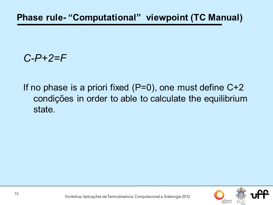 Phase rule- Computational viewpoint (TC Manual)