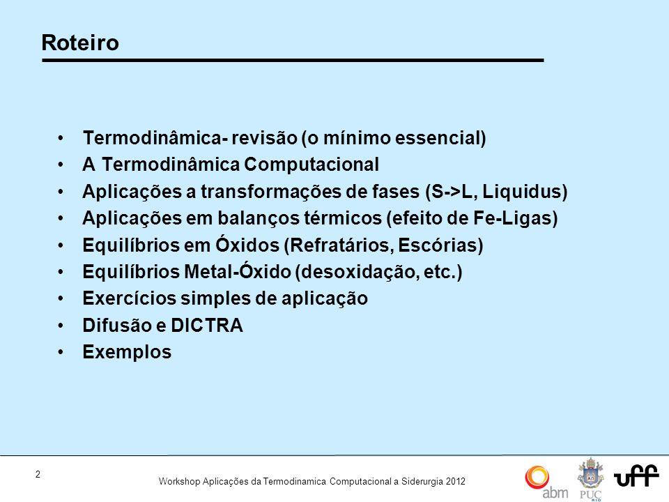 Roteiro Termodinâmica- revisão (o mínimo essencial)