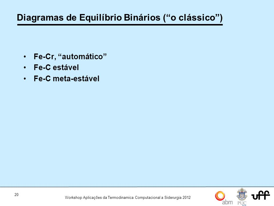Diagramas de Equilíbrio Binários ( o clássico )