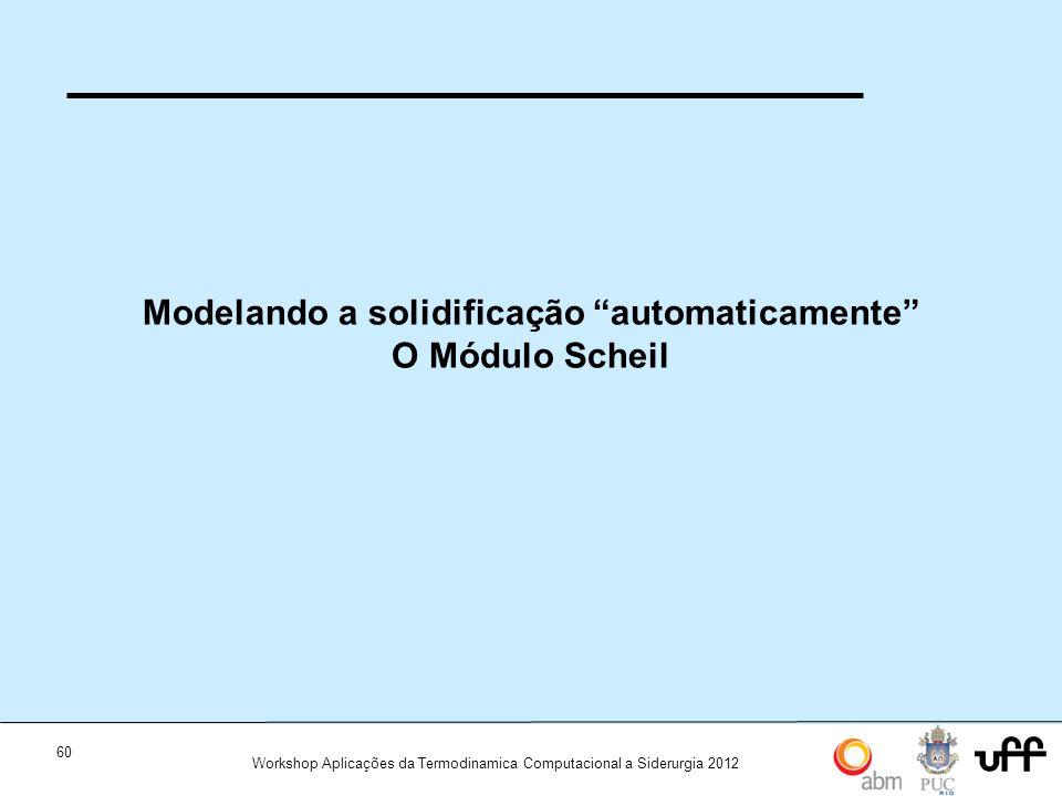 Modelando a solidificação automaticamente O Módulo Scheil