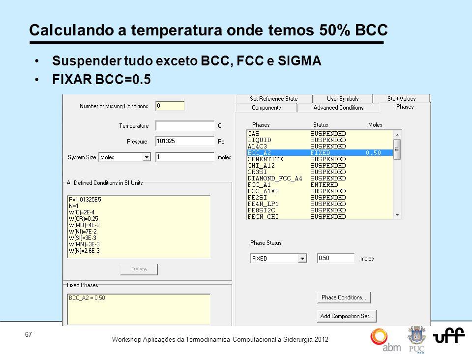 Calculando a temperatura onde temos 50% BCC