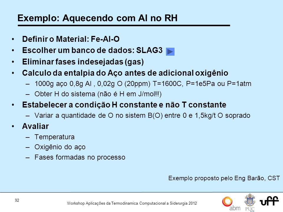 Exemplo: Aquecendo com Al no RH