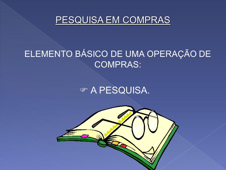 ELEMENTO BÁSICO DE UMA OPERAÇÃO DE COMPRAS: