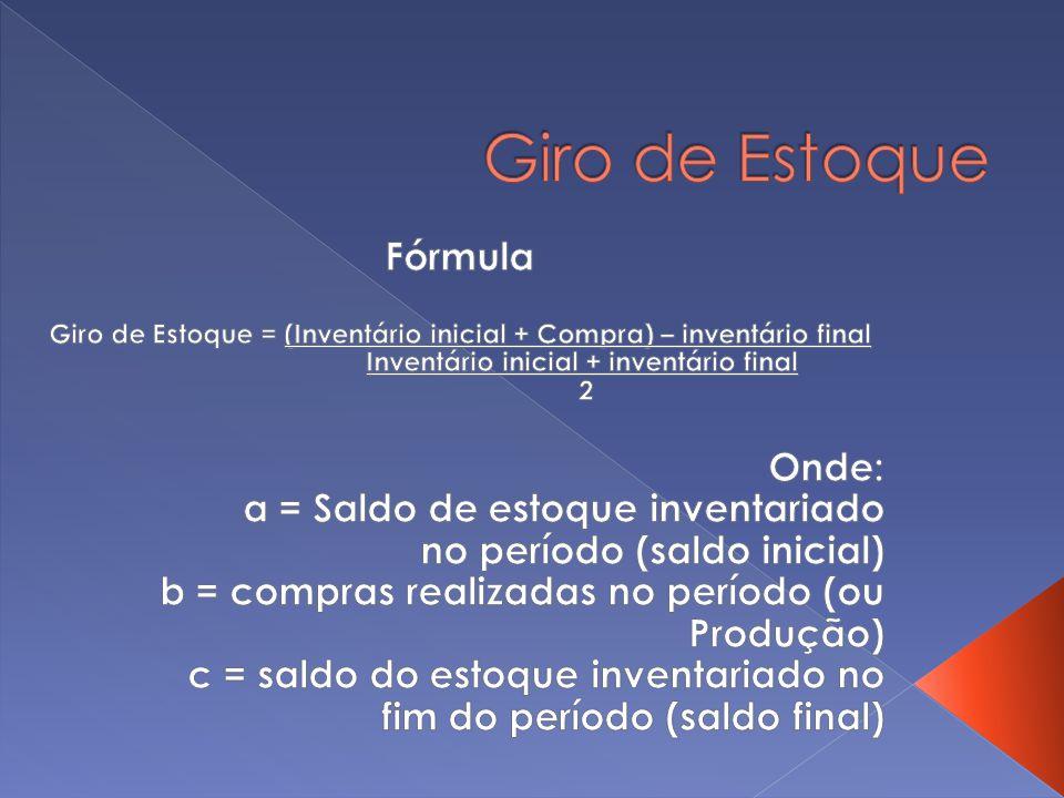 Giro de Estoque Fórmula Onde: