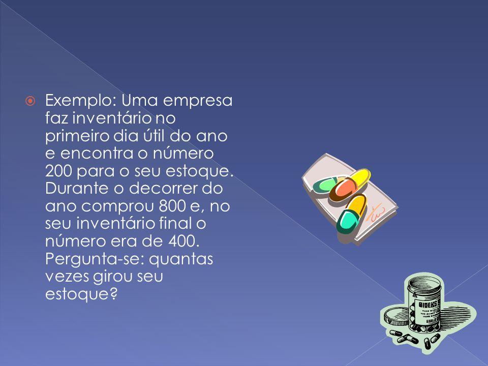 Exemplo: Uma empresa faz inventário no primeiro dia útil do ano e encontra o número 200 para o seu estoque.