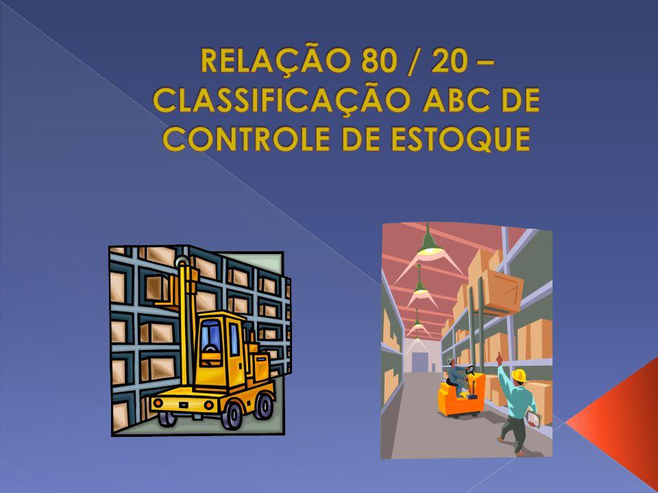 RELAÇÃO 80 / 20 – CLASSIFICAÇÃO ABC DE CONTROLE DE ESTOQUE