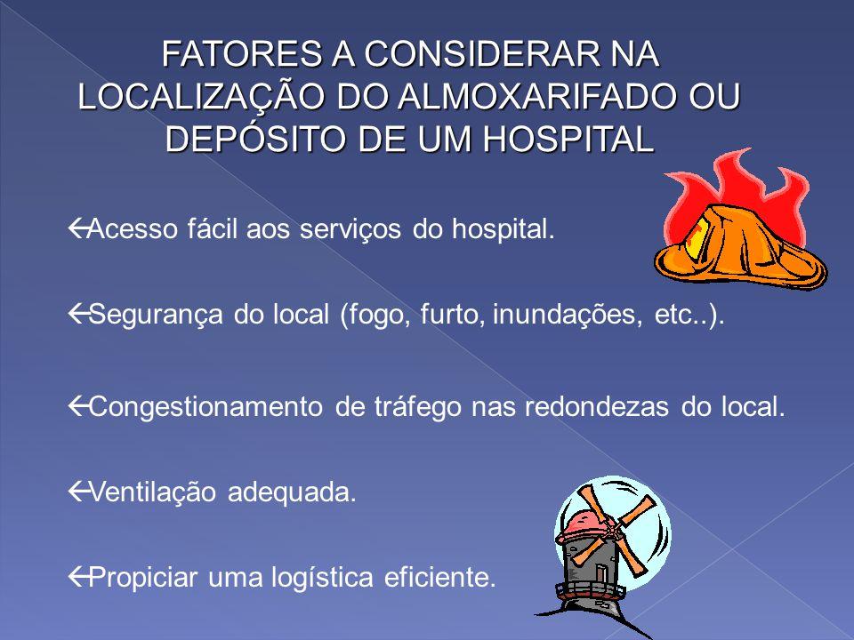 FATORES A CONSIDERAR NA LOCALIZAÇÃO DO ALMOXARIFADO OU DEPÓSITO DE UM HOSPITAL