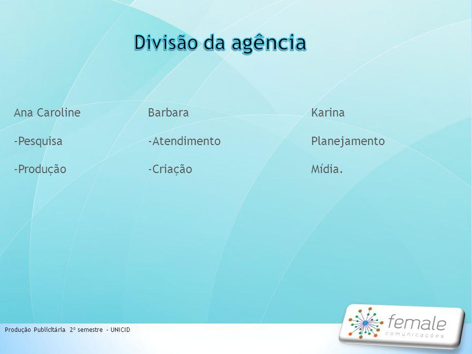 Divisão da agência Ana Caroline -Pesquisa -Produção Barbara