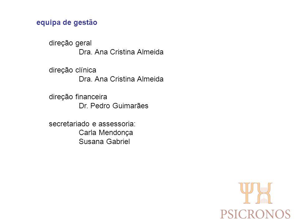 equipa de gestão direção geral. Dra. Ana Cristina Almeida. direção clínica. direção financeira. Dr. Pedro Guimarães.