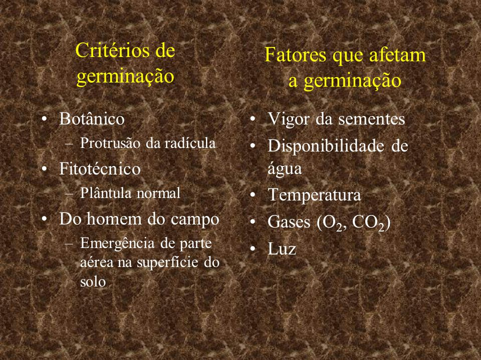 Critérios de germinação