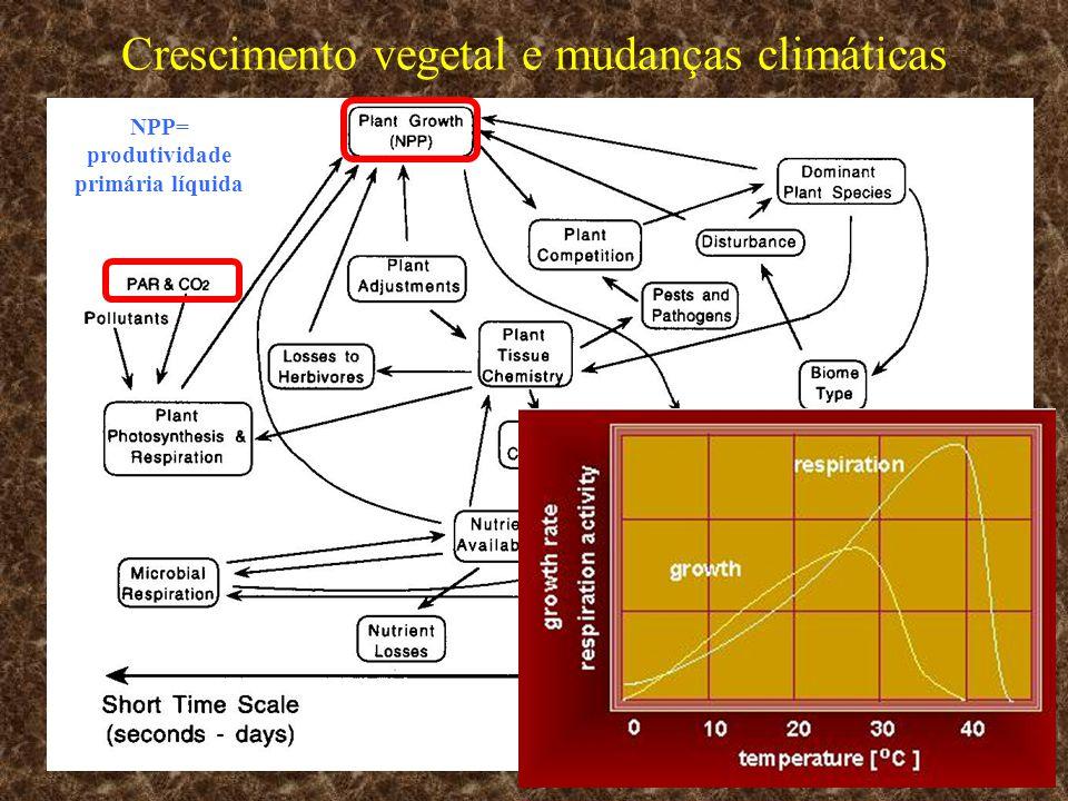 Crescimento vegetal e mudanças climáticas