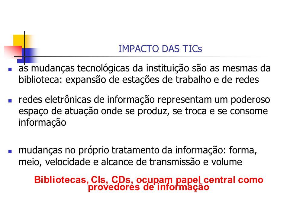 IMPACTO DAS TICs as mudanças tecnológicas da instituição são as mesmas da biblioteca: expansão de estações de trabalho e de redes.