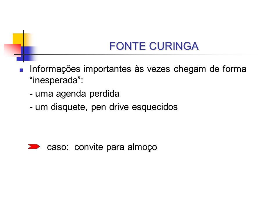 FONTE CURINGA Informações importantes às vezes chegam de forma inesperada : - uma agenda perdida.