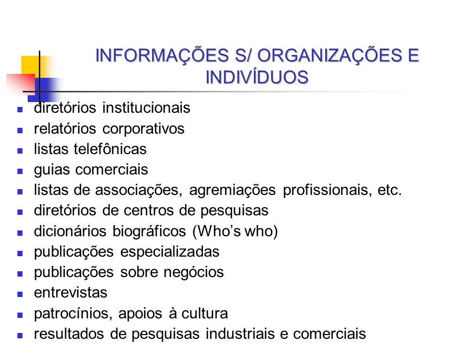 INFORMAÇÕES S/ ORGANIZAÇÕES E INDIVÍDUOS