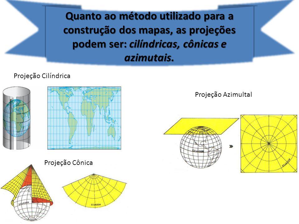 Quanto ao método utilizado para a construção dos mapas, as projeções podem ser: cilíndricas, cônicas e azimutais.