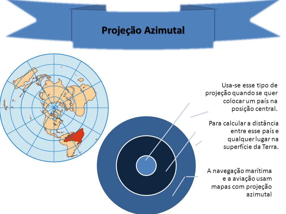 Projeção Azimutal Usa-se esse tipo de projeção quando se quer colocar um país na posição central.