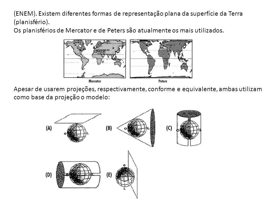 (ENEM). Existem diferentes formas de representação plana da superfície da Terra (planisfério).