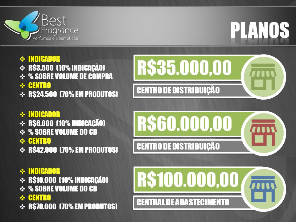 PLANOS R$35.000,00 R$60.000,00 R$100.000,00 CENTRO DE DISTRIBUIÇÃO