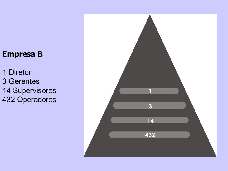 Empresa B 1 Diretor 3 Gerentes 14 Supervisores 432 Operadores