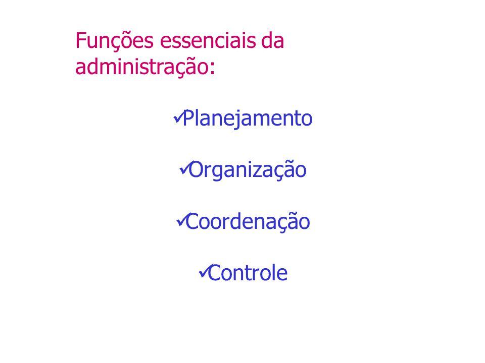 Funções essenciais da administração: