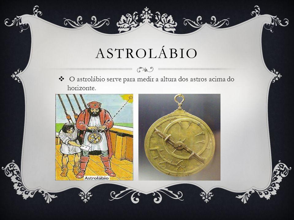 Astrolábio O astrolábio serve para medir a altura dos astros acima do horizonte.
