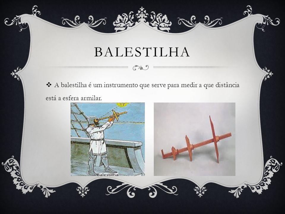 balestilha A balestilha é um instrumento que serve para medir a que distância está a esfera armilar.