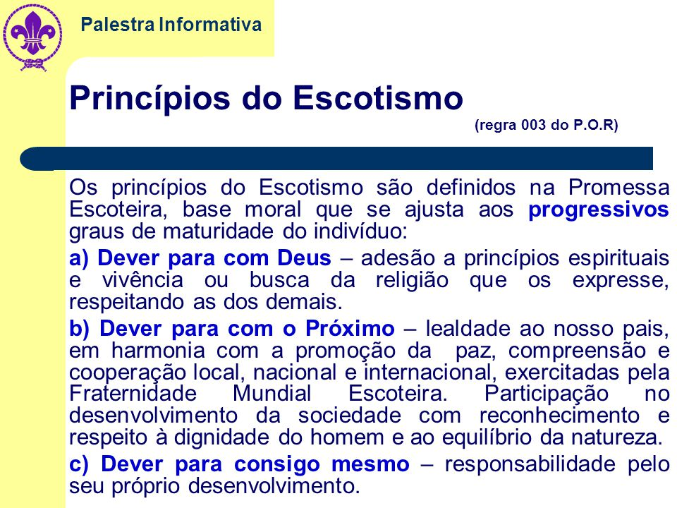 Princípios do Escotismo (regra 003 do P.O.R)