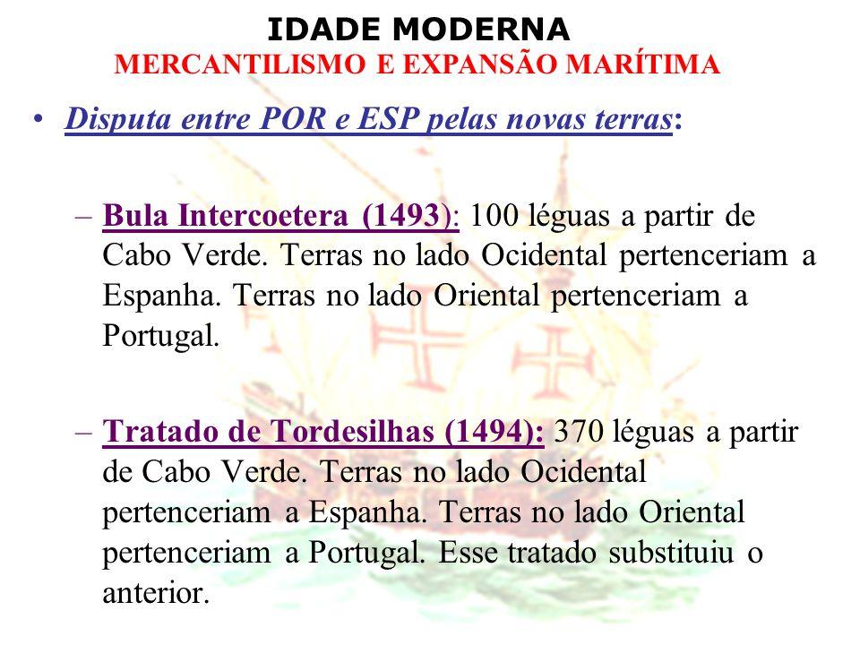 Disputa entre POR e ESP pelas novas terras:
